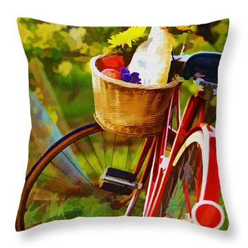 A Loaf Of Bread A Jug Of Wine And A Bike Throw Pillow by Elaine Plesser