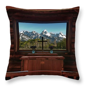 A Pew With A View Throw Pillow by Sandra Bronstein
