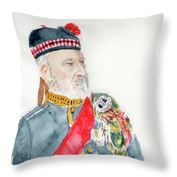 Throw Pillow featuring the painting A Scottish Soldier by Yoshiko Mishina