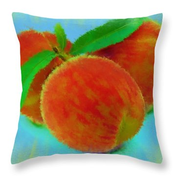 Abstract Fruit Painting Throw Pillow by Michael Greenaway