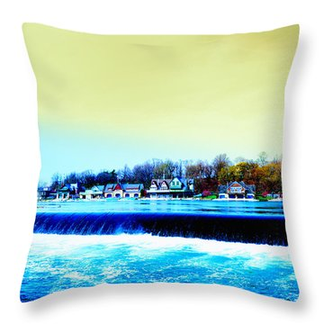 Across The Dam To Boathouse Row. Throw Pillow by Bill Cannon