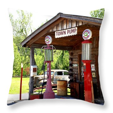 Antique Car And Filling Station 2 Throw Pillow by Douglas Barnett