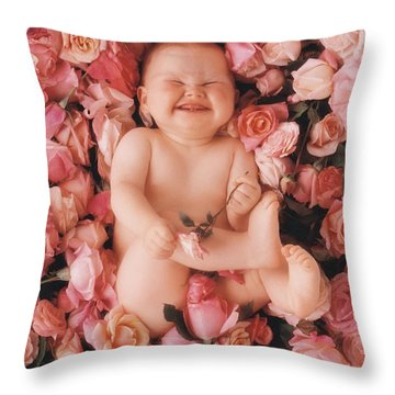 Baby Flowers 2 Throw Pillow by Anne Geddes