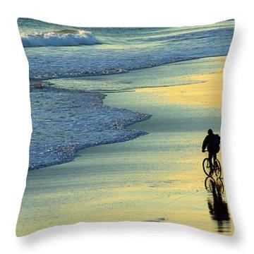 Beach Biker Throw Pillow by Carlos Caetano