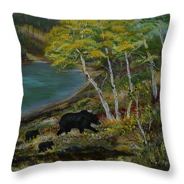 Bear Country Throw Pillow by Leslie Allen
