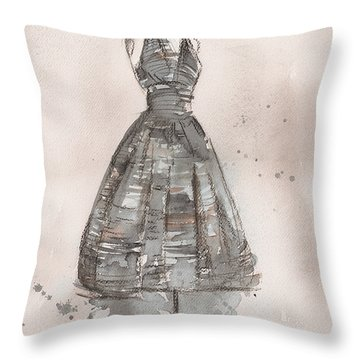 Black And White Striped Dress Throw Pillow by Lauren Maurer