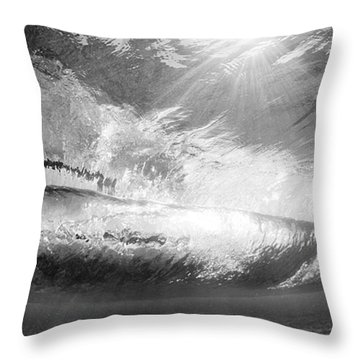 Black And White View Under Wave Throw Pillow by MakenaStockMedia - Printscapes