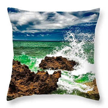 Blue Meets Green Throw Pillow