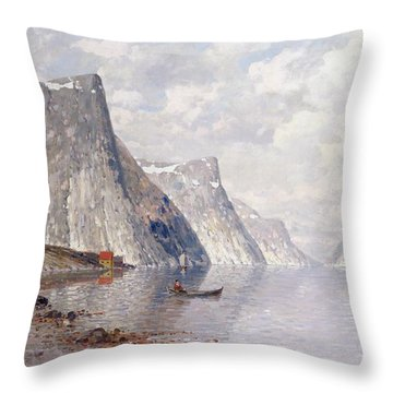 Boating On A Norwegian Fjord Throw Pillow by Johann II Jungblut