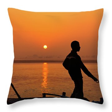 Throw Pillow featuring the photograph Boatsman On The Ganges by Stefan Nielsen