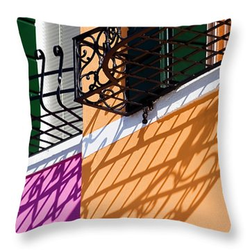Burano Houses Throw Pillow