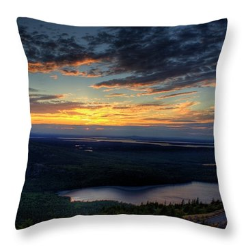 Throw Pillow featuring the photograph Cadillac Mountain Sunset I Hdr by Greg DeBeck