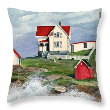 Cape Neddic Lighthouse  Throw Pillow by Nancy Patterson