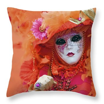 Carnival In Orange Throw Pillow