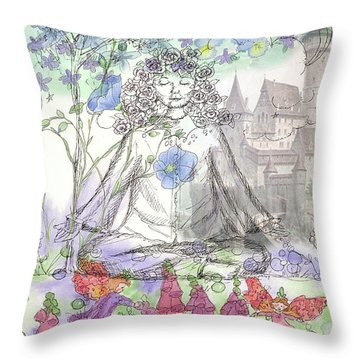 Throw Pillow featuring the painting Celestial Castle by Cathie Richardson