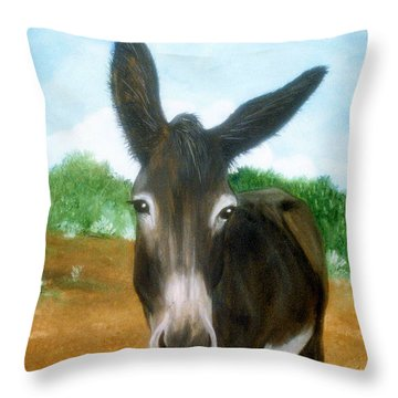 Throw Pillow featuring the painting Chimayo Mule by Jan Amiss