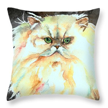 Throw Pillow featuring the painting Chinchilla Cat by Christy  Freeman