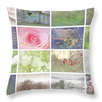 Collage Of Seasonal Images With Vintage Look Throw Pillow by Sandra Cunningham