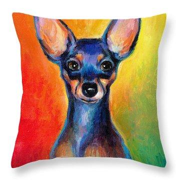 Contemporary Colorful Chihuahua Chiuaua Painting Throw Pillow by Svetlana Novikova