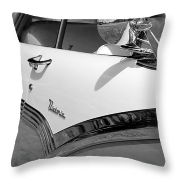 Creative Chrome - 1956 Ford Fairlane Victoria Throw Pillow by Betty Northcutt
