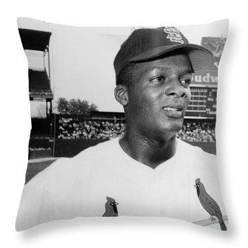 Curt Flood (1938- ) Throw Pillow by Granger