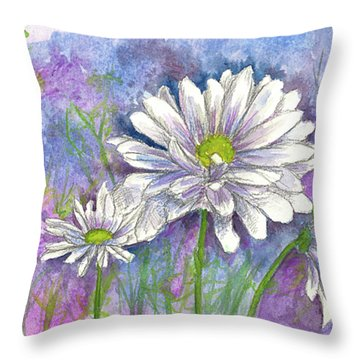 Throw Pillow featuring the painting Daisy Three by Cathie Richardson