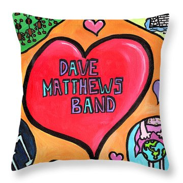 Dave Matthews Band Tribute Throw Pillow by Jera Sky