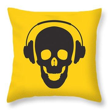 Dj Skeleton Throw Pillow by Pixel Chimp