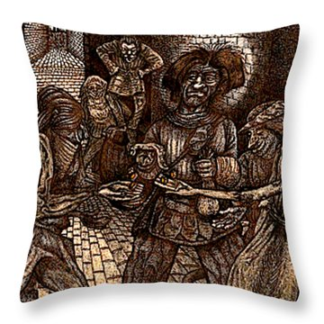 Dogboy Confronts The Streetgang Throw Pillow by Al Goldfarb