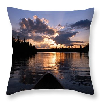 Evening Paddle On Spoon Lake Throw Pillow by Larry Ricker