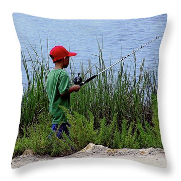 Fishing At Hickory Mound Throw Pillow