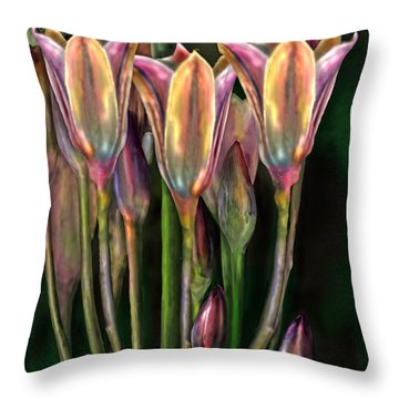 Flowers Throw Pillow by Virginia Palomeque