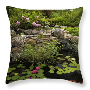 Garden Pond - D001133 Throw Pillow