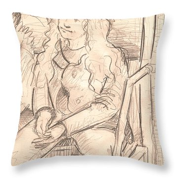 Girl On A Train Throw Pillow by Al Goldfarb