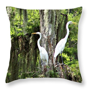 Great White Egrets Throw Pillow