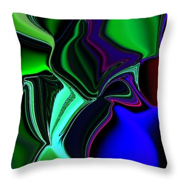 Throw Pillow featuring the digital art Green Nite Distortions 4 by Greg Moores