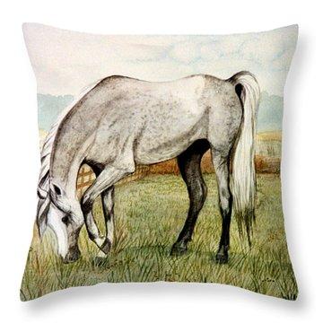 Grey Arabian Throw Pillow by Jan Amiss