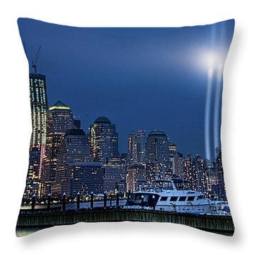 Ground Zero Tribute Lights And The Freedom Tower Throw Pillow by Chris Lord