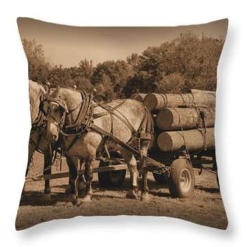 Hardworking Horses Throw Pillow by Kristin Elmquist