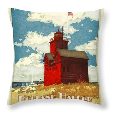 Holland Harbor Lighthouse Throw Pillow by Antoinette Houtman