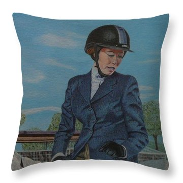 Horseshow Day Throw Pillow by Patricia Barmatz