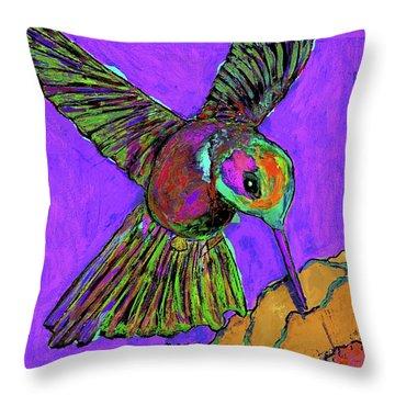 Hummingbird On Purple Throw Pillow