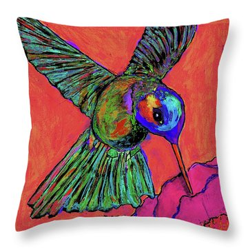Hummingbird On Red Throw Pillow