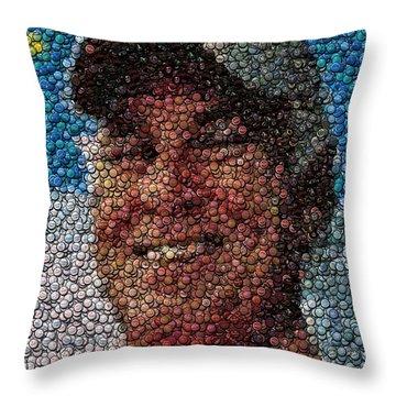 Jimmy Buffet Bottle Cap Mosaic Throw Pillow by Paul Van Scott