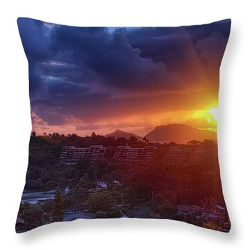 Kaneohe Sunrise Throw Pillow by Dan McManus