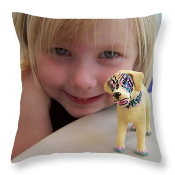 Lacey's Face Painted Dog Throw Pillow
