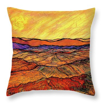 Landscape In Yellow Throw Pillow