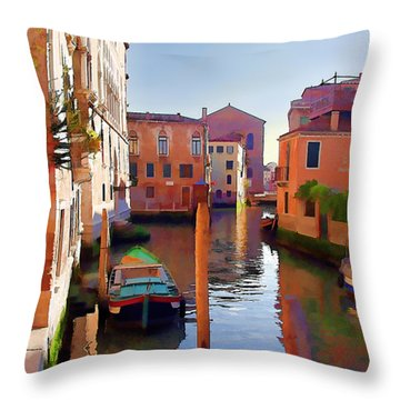 Late Afternoon In Venice Throw Pillow by Elaine Plesser