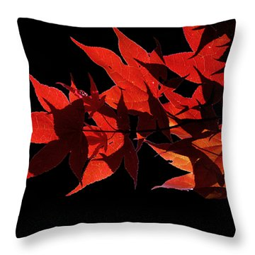 Leaves Of Red Throw Pillow by Heather Applegate