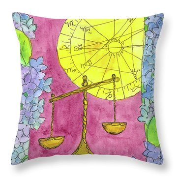 Throw Pillow featuring the painting Libra by Cathie Richardson